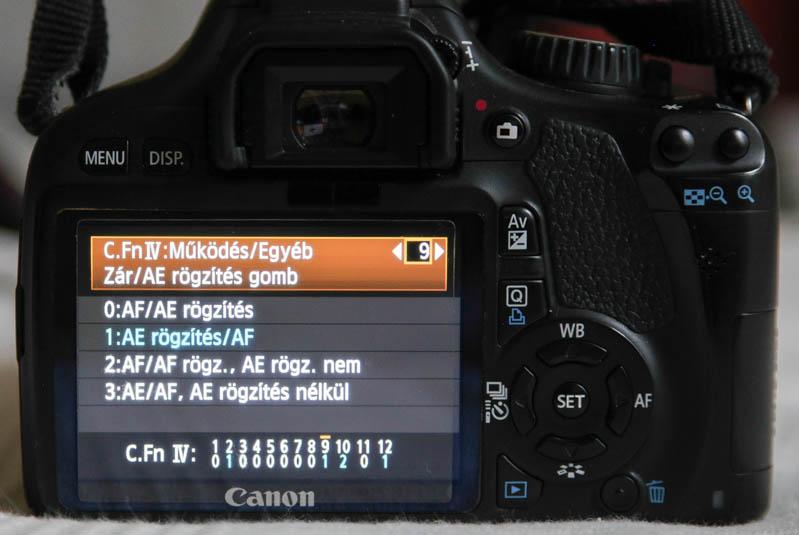 AF-ON gomb fókuszálás Canon 550D-n: zár/AE rögzítés menü