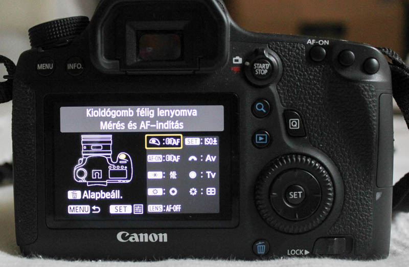 AF-ON gomb fókuszálás Canon 6D-n: Kioldógomb konfig