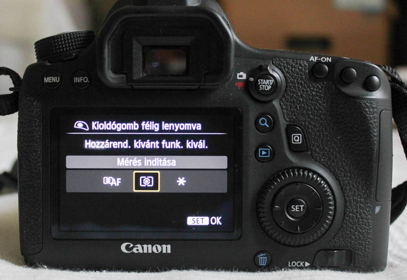 AF-ON gomb fókuszálás Canon 6D-n: Kioldógomb mérés indítása