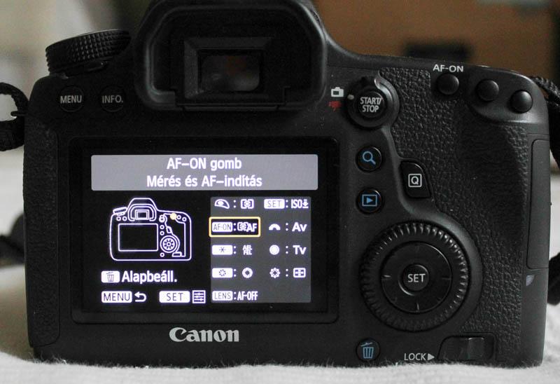 AF-ON gomb fókuszálás Canon 6D-n beállítás