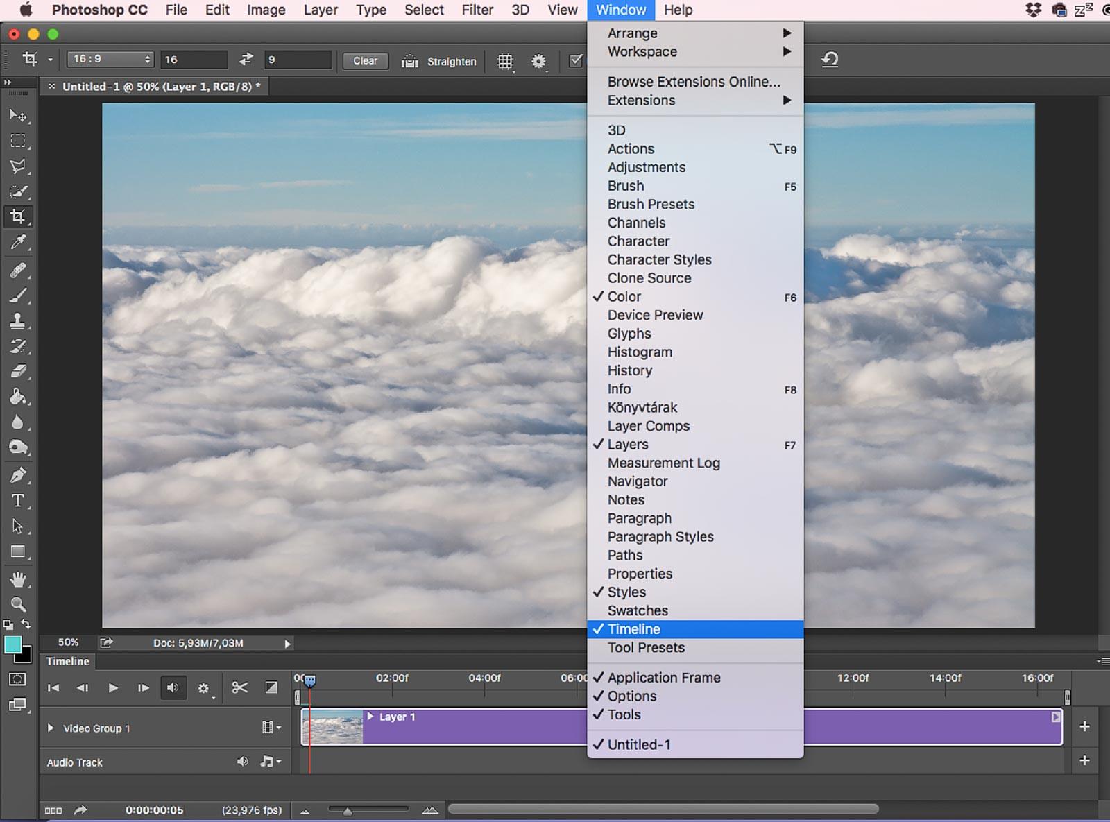 Photoshop Videóablak Timeline megnyitása