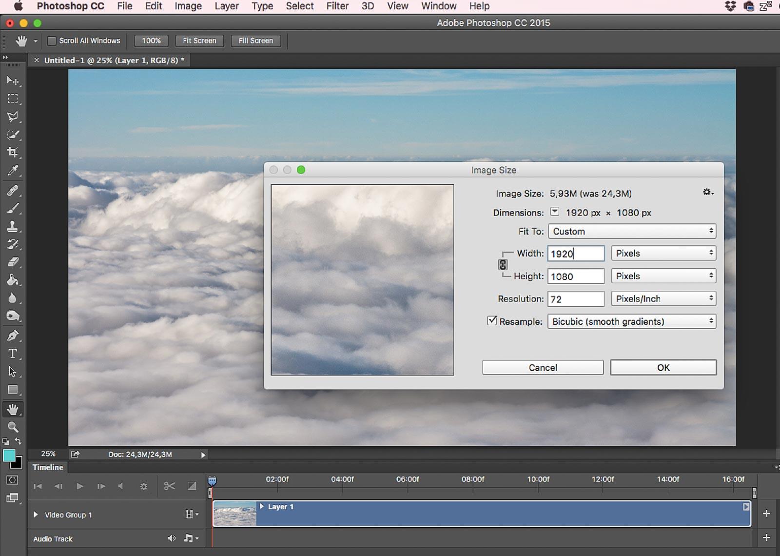 Photoshop képméretezés Full-HD-ra