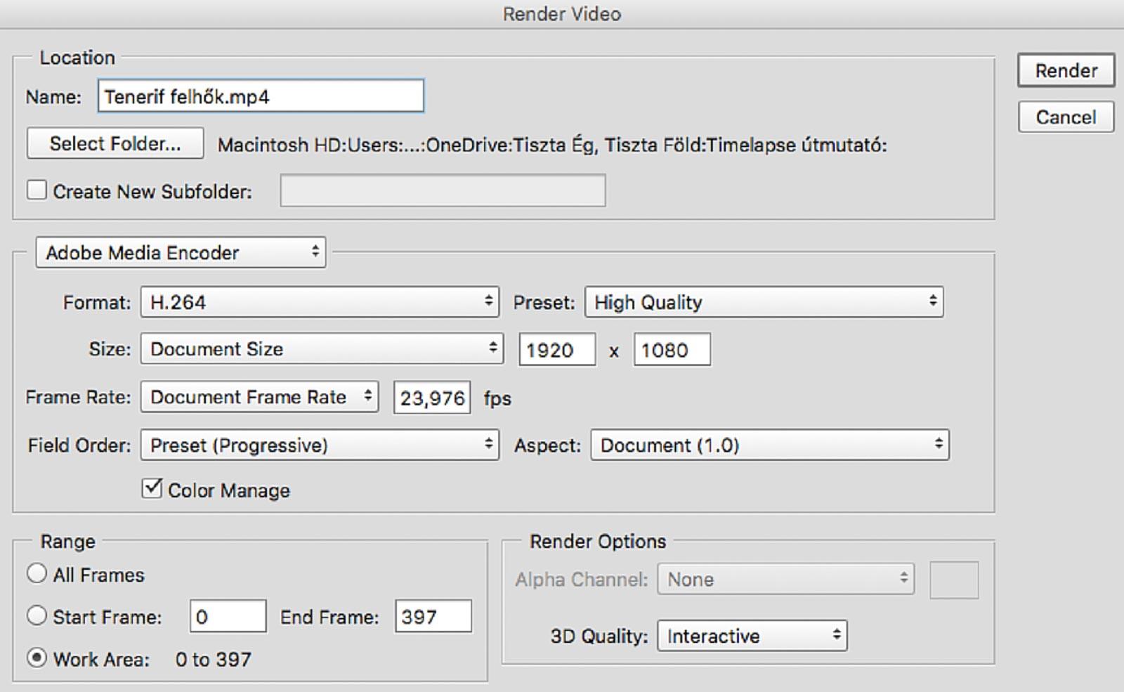 Photoshop videó renderelés beállítások