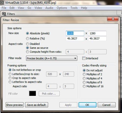 VirtualDub átméretezés