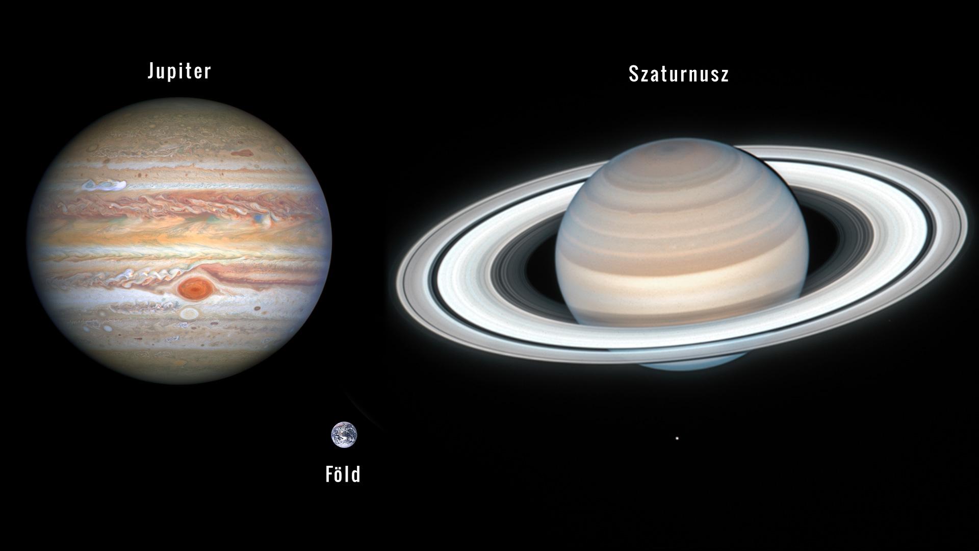 Jupiter, Szaturnusz és Föld egymáshoz hasonlítva méretarányos