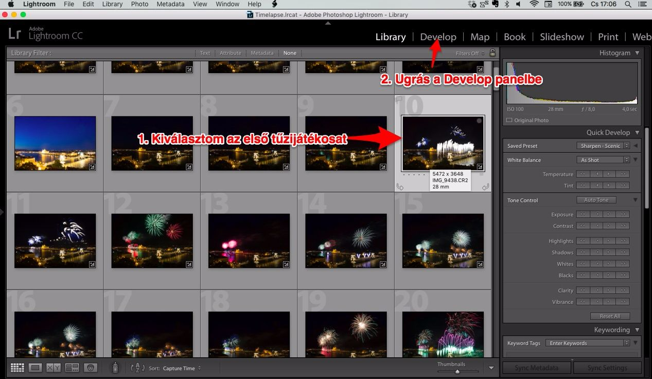 Lightroom Library panelből Developba