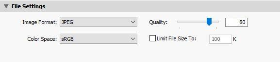 Lightroom exportálás fájl minősége JPG 80%