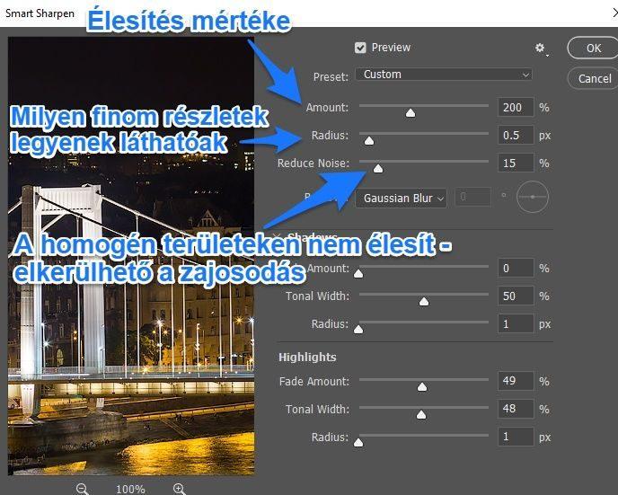 Photoshop smart sharpen intelligens élesítés beállítások