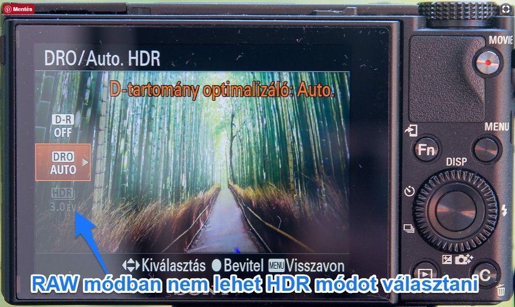 Sony RX100 HDR mód RAWban