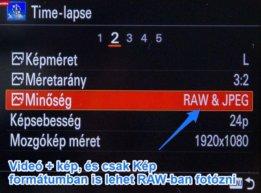 Sony RX100 timelapse app RAW beállítás