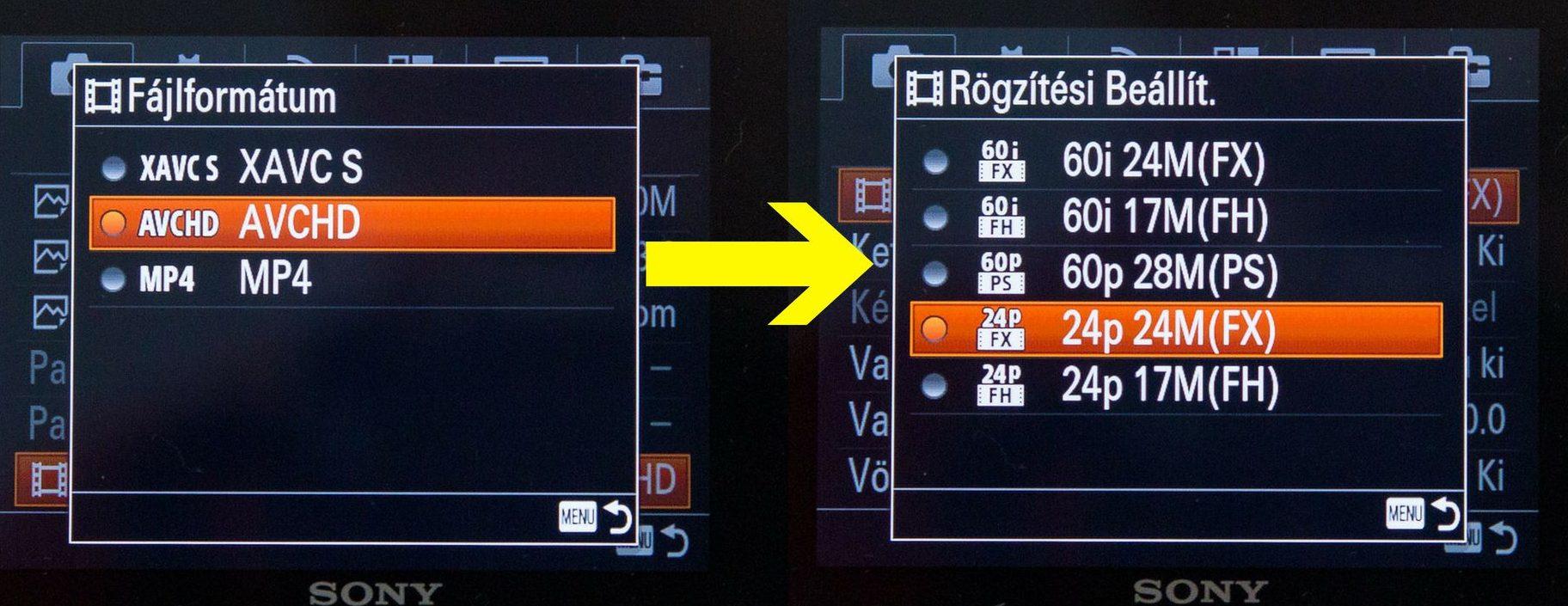 Sony RX100 videó beállitások avchd módban
