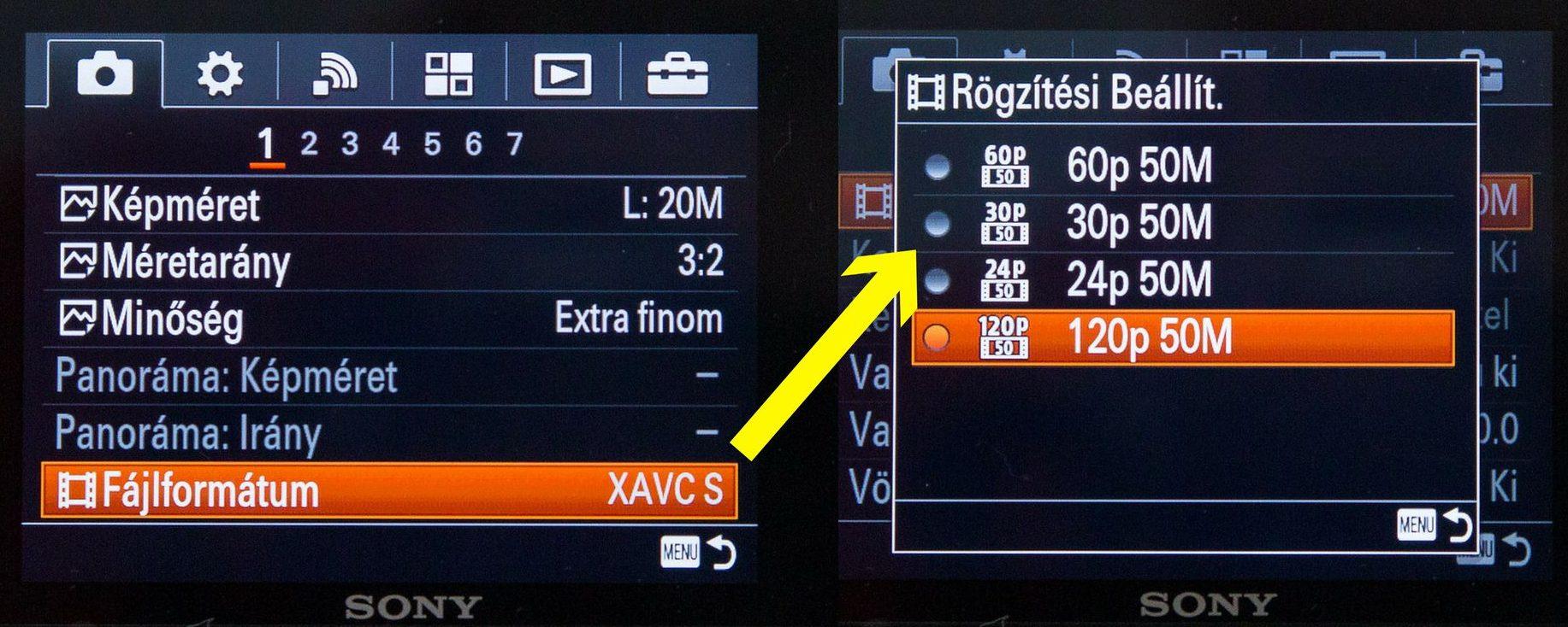 Sony RX100 videó beállitások xavc-s módban