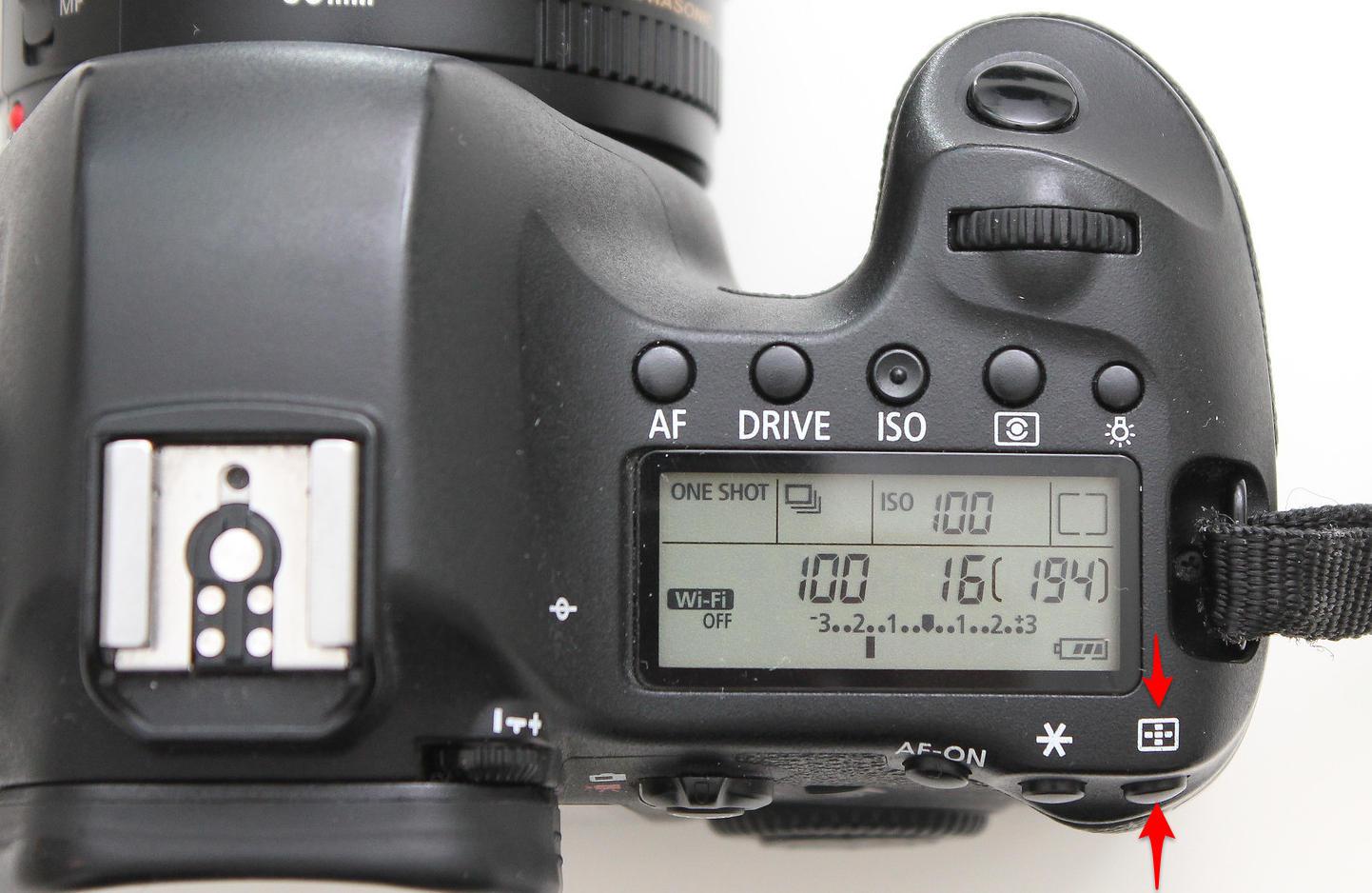 autofókuszpont választó gomb Canon 6D-n