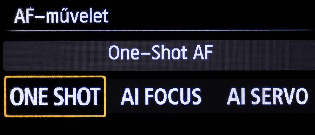 Egyszeri autofókusz mód Canon DSLR