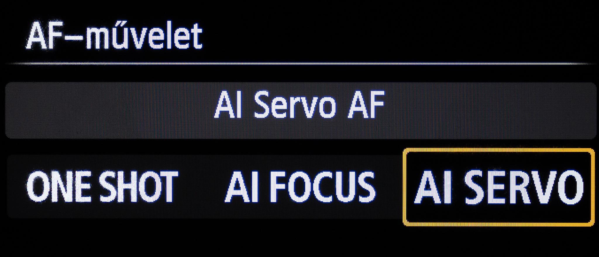 Canon AI Servo folyamatos autofókusz mód
