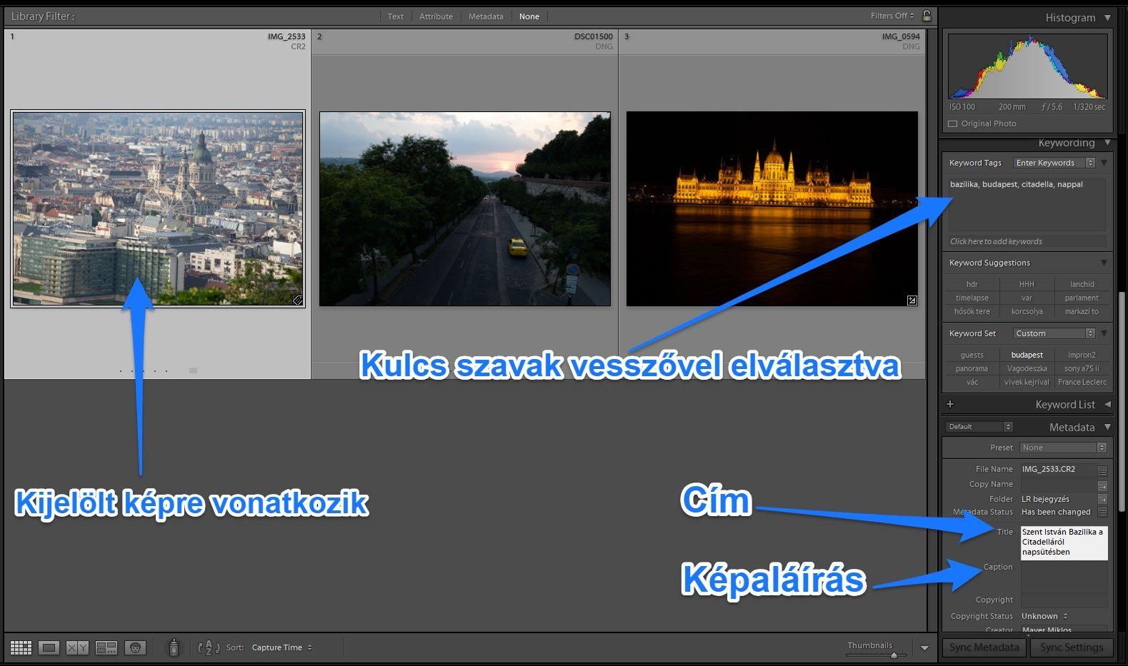 Metadata Lightroomban: kulcsszó, cím, képaláírás
