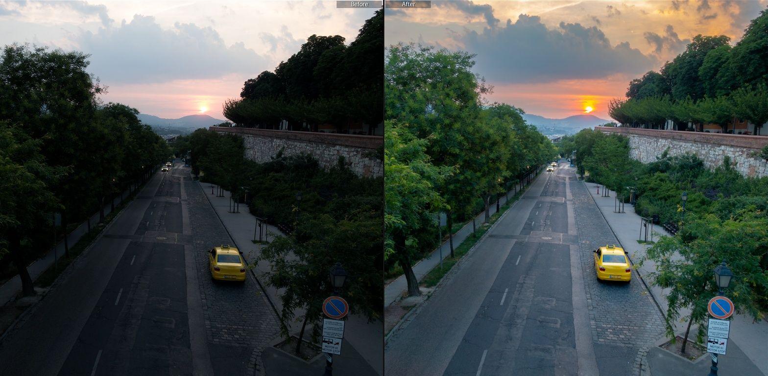 lightroom napnyugtás RAW fénykép szerkesztés előtt-után