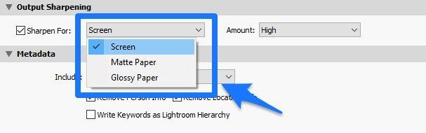 Lightroom élesítés exportáláskor