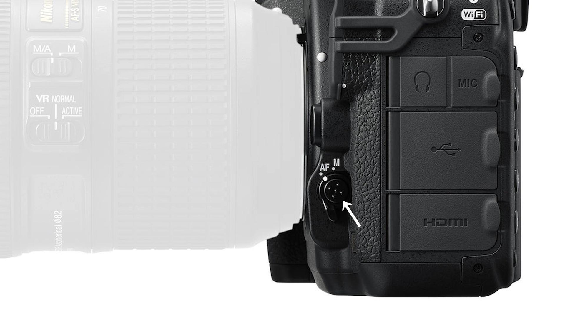 AF/MF kapcsoló felsőkategóriás Nikon DSLR gép oldalában