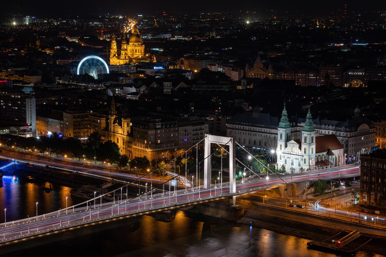 erzsébet híd és bazilika éjjel