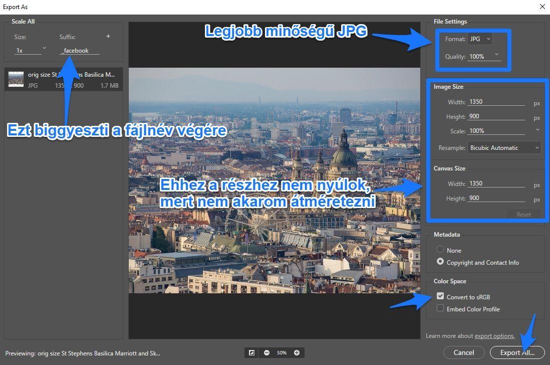 Photoshop export panel