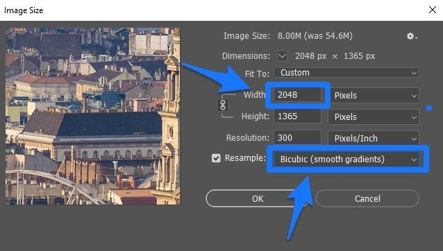 Photoshop kép átméretezése