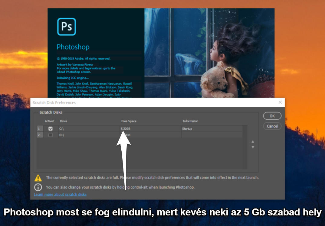 photoshop scracth disk full nem indul